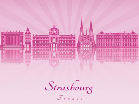 Strasbourg skyline radiant in purple orchid in editable vector file