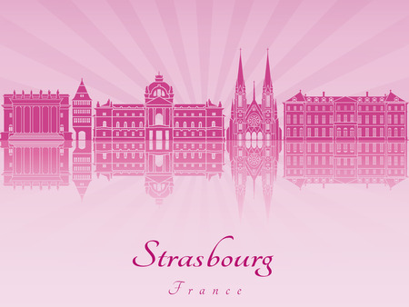 strasbourg: Strasbourg skyline radiant in purple orchid in editable vector file
