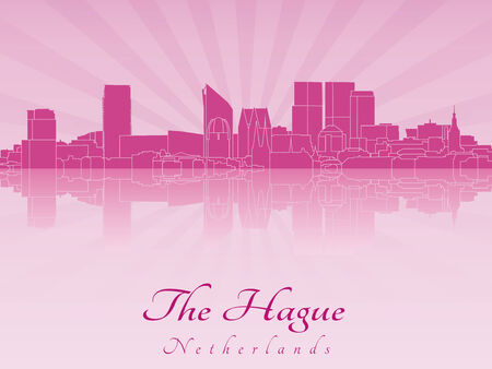 The Hague skyline in radiant purple orchid in editable vector file Illustration