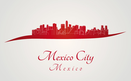 city building: Mexico City skyline in red and gray background in editable vector file