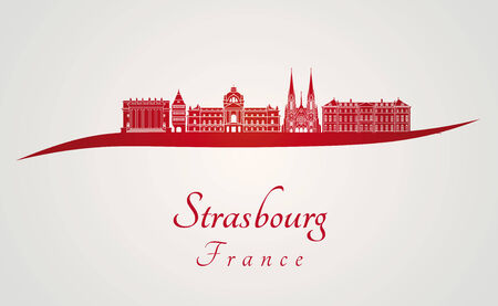 strasbourg: Strasbourg skyline in red and gray background in editable vector file