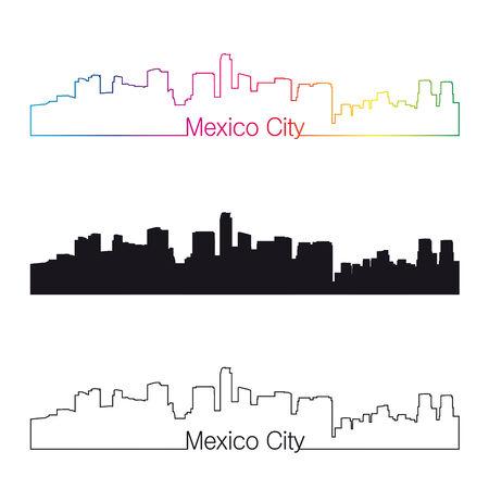 Mexico City skyline with rainbow linear style in editable vector file