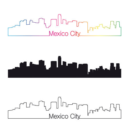 Mexico City skyline with rainbow linear style in editable vector file