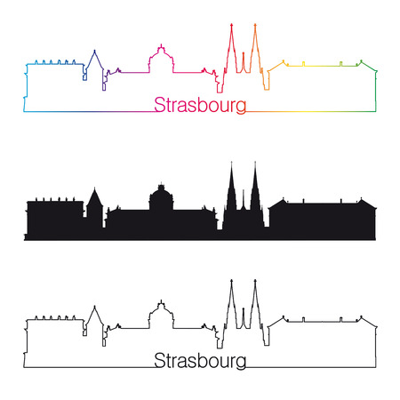 strasbourg: Strasbourg linear style skyline with rainbow in editable vector file