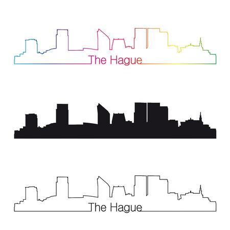 編集可能なベクトル ファイルで虹線形スタイルでハーグ スカイライン  イラスト・ベクター素材