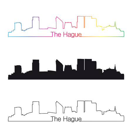 The Hague skyline with rainbow linear style in editable vector file