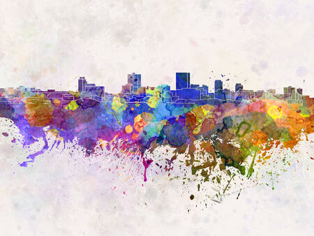anchorage: Anchorage skyline in watercolor background Stock Photo