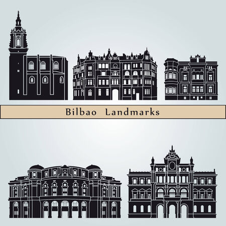 bilbao: Bilbao landmarks and monuments isolated on blue background in editable vector file