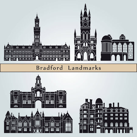 Bradford landmarks and monuments isolated on blue background in editable vector file