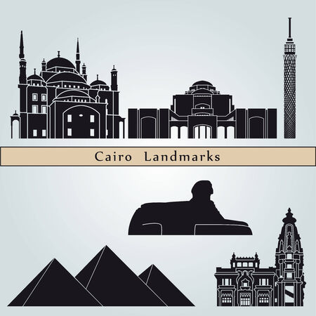 cairo: Cairo landmarks and monuments isolated on blue background in editable vector file