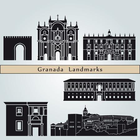 bezienswaardigheden en monumenten Granada geïsoleerd op een blauwe achtergrond in bewerkbare vector-bestand Stock Illustratie