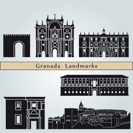 Granada landmarks and monuments isolated on blue background in editable vector file