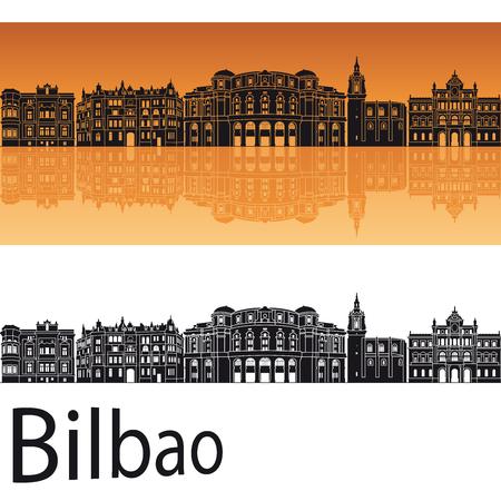 bilbao: Bilbao skyline in orange background in editable file