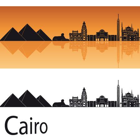 編集可能なファイルのオレンジ色の背景のカイロのスカイライン