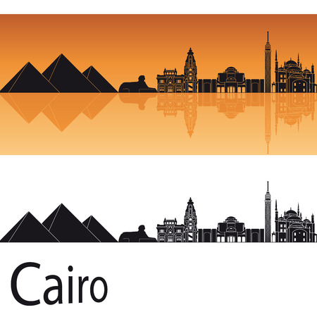 Cairo skyline in orange background in editable file