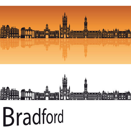 Bradford skyline in orange background in editable file