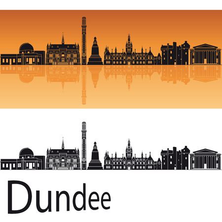 Dundee skyline in orange background