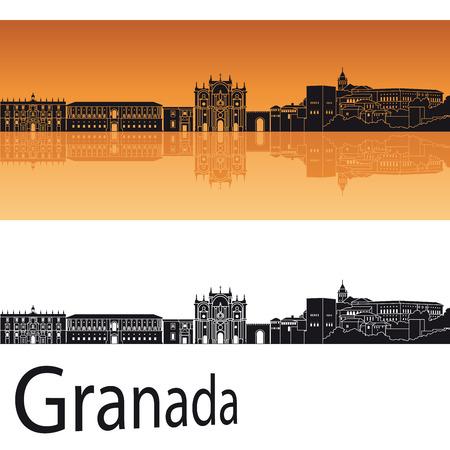 オレンジ色の背景のグラナダのスカイライン  イラスト・ベクター素材
