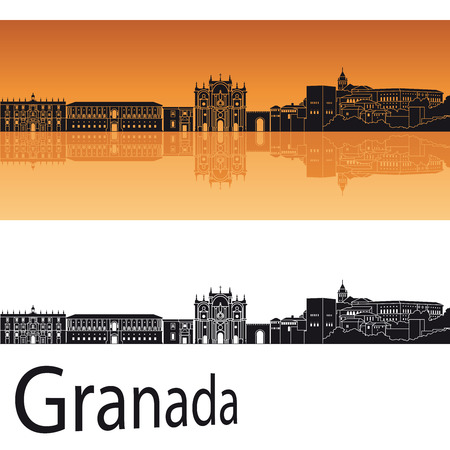 Granada skyline in orange background 版權商用圖片 - 35278405