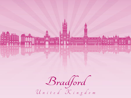 Bradford skyline in purple radiant orchid in editable vector file