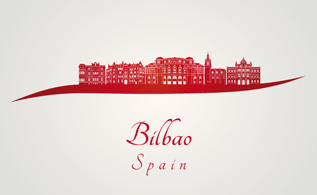 bilbao: Bilbao skyline in red and gray background