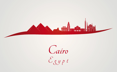 cairo: Cairo skyline in red and gray background