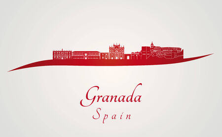 Granada skyline in red and gray background