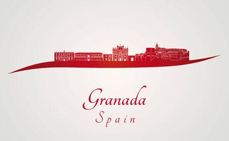 granada: Granada skyline in red and gray background