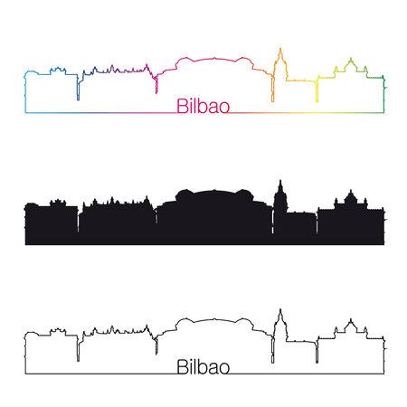 bilbao: Bilbao skyline linear style with rainbow