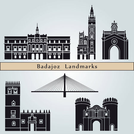 monuments: Badajoz landmarks and monuments isolated on blue background in editable vector file