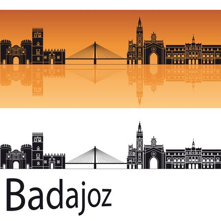 badajoz: Badajoz skyline in orange background in editable vector file