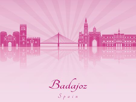badajoz: Badajoz skyline in purple radiant orchid in editable vector file