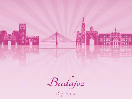 radiant: Badajoz skyline in purple radiant orchid in editable vector file