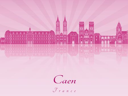 radiant: Caen skyline in purple radiant orchid in editable vector file Illustration