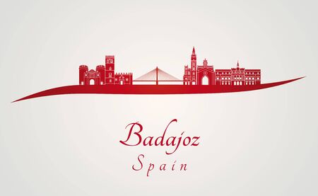 badajoz: Badajoz skyline in red and gray background in editable vector file