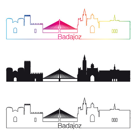 badajoz: Badajoz skyline linear style with rainbow in editable vector file