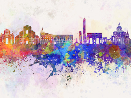 Bologna skyline in watercolor background Stock fotó