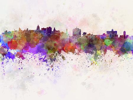 Havana skyline in watercolor background photo