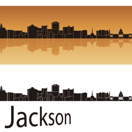 mississippi: Jackson skyline in orange background in editable vector file