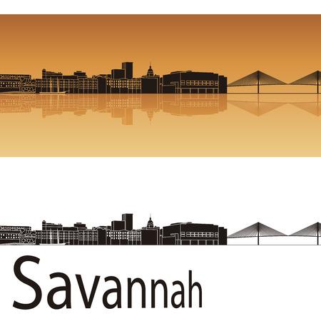 Savannah skyline in orange background in editable vector file