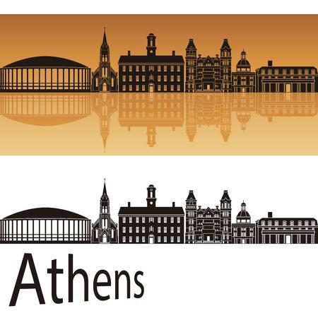 bird s house: Athens skyline in orange background in editable vector file Illustration