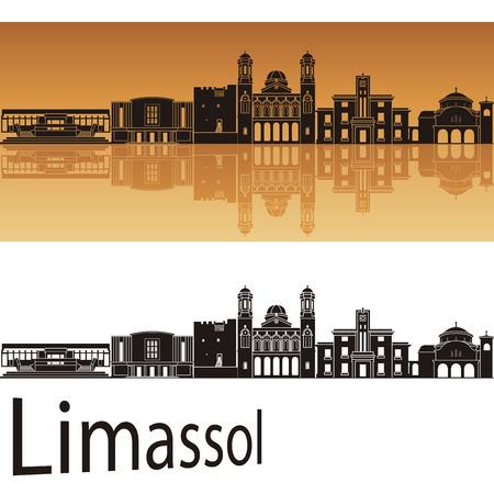 Limassol skyline in orange background in editable vector file