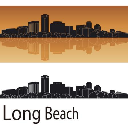 編集可能なベクトル ファイルでオレンジ色の背景のロングビーチのスカイライン  イラスト・ベクター素材
