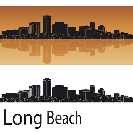panoramic beach: Long Beach skyline in orange background in editable vector file