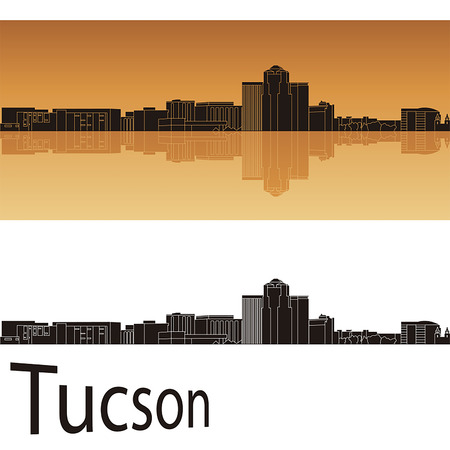 tucson: Tucson skyline in orange background in editable vector file