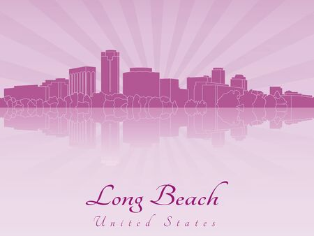 Long Beach skyline in radiant purple orchid in editable vector file