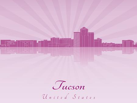 arizona: Tucson skyline radiant in purple orchid in editable vector file Illustration