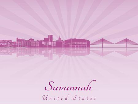 編集可能なベクトル ファイルで紫色の蘭で放射サバンナ スカイライン