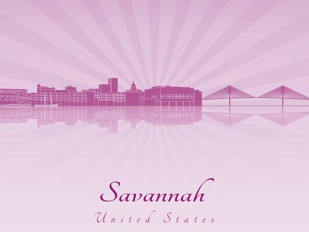 Savannah skyline radiant in purple orchid in editable vector file