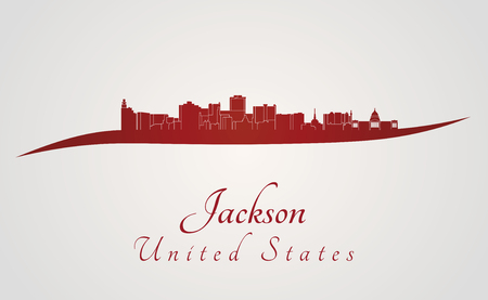 Jackson skyline in rode en grijze achtergrond in bewerkbare vector-bestand Stock Illustratie